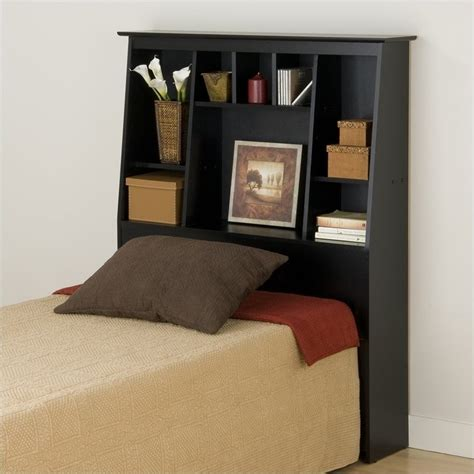 over the headboard reading l slant back tall twin bookcase headboard in black bsh 4556
