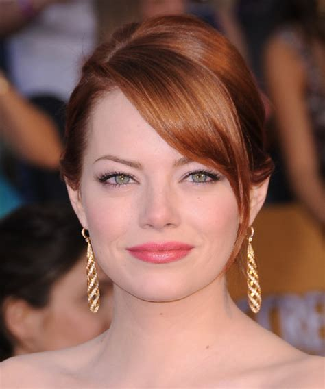 front view of side swept hairstyles emma stone updo long straight formal updo hairstyle with
