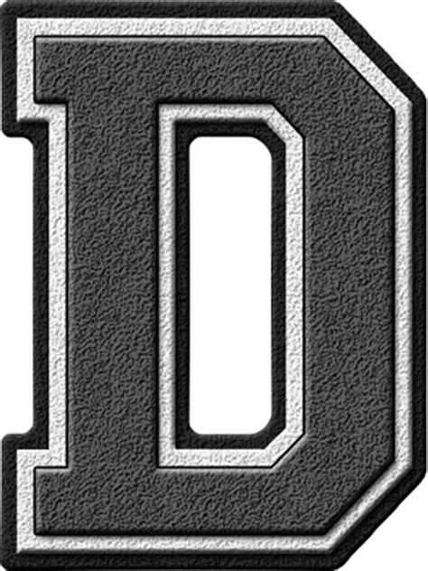 Letter Grey Presentation Alphabets Grey Varsity Letter D