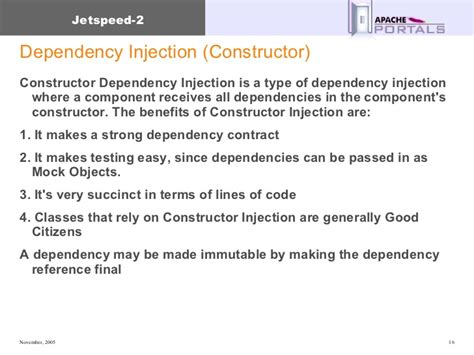 spring dependency injection constructor and setter jetspeed 2 overview