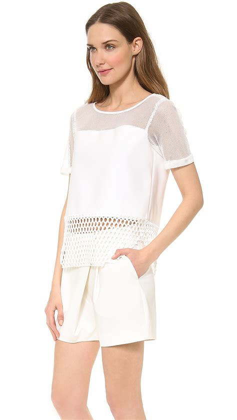 Mesh Top lyst elizabeth and rider mesh top in white