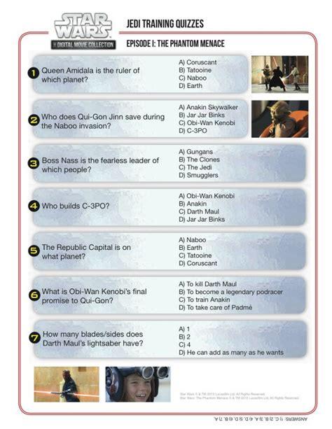 printable star wars quiz questions jedi training quiz star wars episode i the phantom