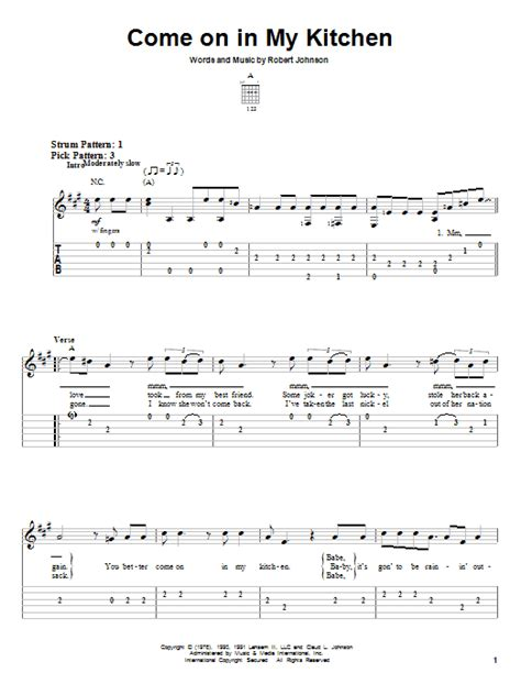 Robert Johnson Come On In Kitchen by Come On In Kitchen By Robert Johnson Easy Guitar Tab