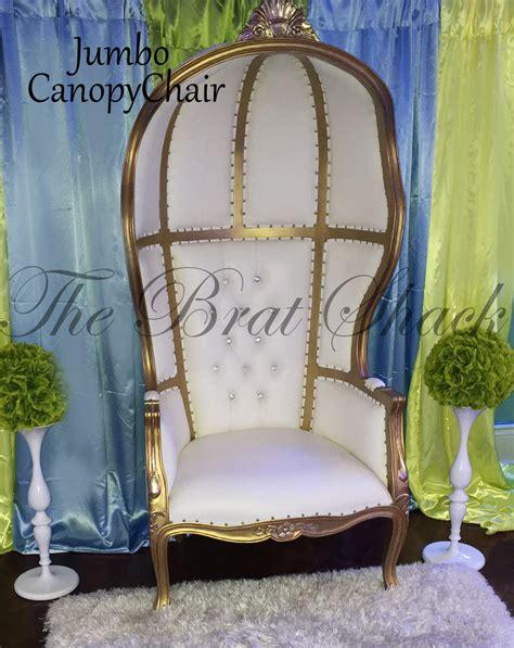 elegant canopy chair  rent  brat shack party store