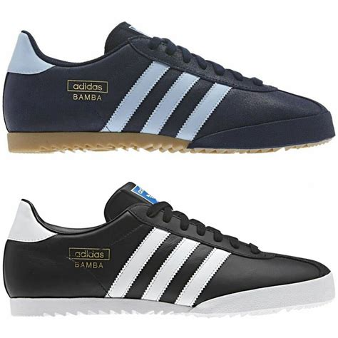 adidas originals mens bamba trainers black blue shoes