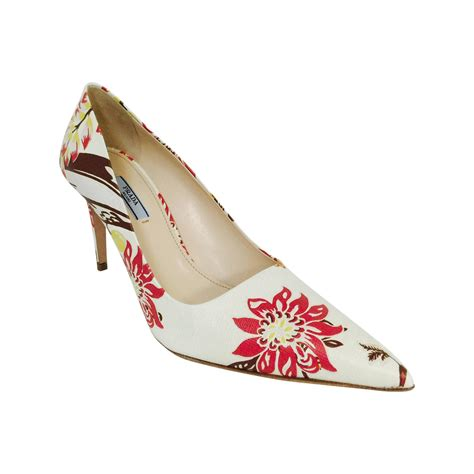 prada high heel shoes new prada floral print saffiano leather pointed toe high