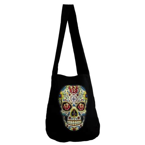 Sling Bag Skull by Black Canvas Sling Bag With Colorful Day Of The Dead Skull