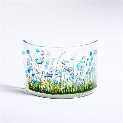 Handmade Fused Glass - handmade fused glass cornflowers curve
