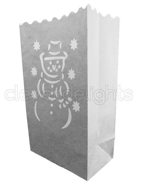 10 white luminary bags snowman design christmas