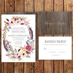 bohemian wedding invitation wording bohemian wedding invitation pink magenta blush feathers floral fall woodland