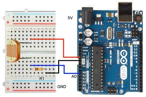 photoresistor breadboard hookup wire up arduino to light dependent photoresistor ldr