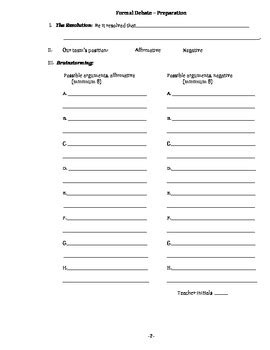debate cards template formal debate preparation template by robert tpt