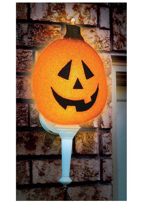 lighted outdoor halloween decorations sparkling pumpkin porch light cover outdoor halloween