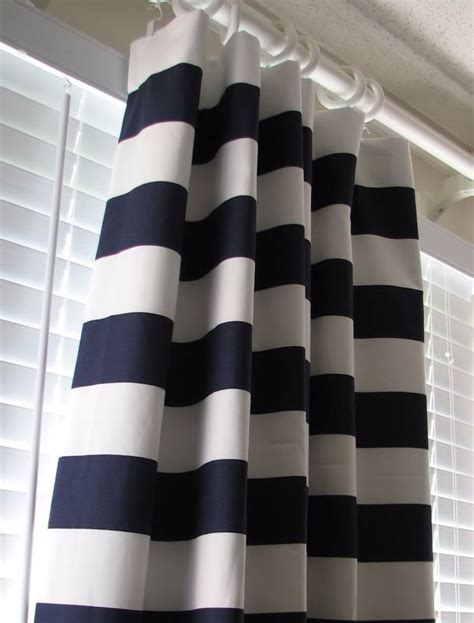 Simple style bathroom decor with navy blue white striped curtains and hand painted window panel