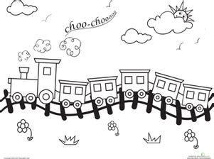 coloring pages of train tracks choo choo train worksheet education com