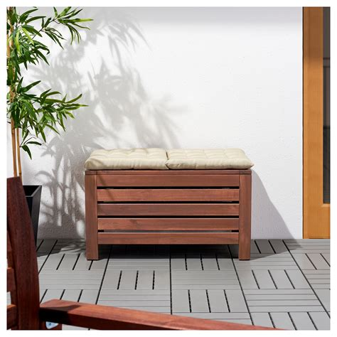 6 storage bench 196 pplar 214 storage bench outdoor brown stained 80x41 cm ikea