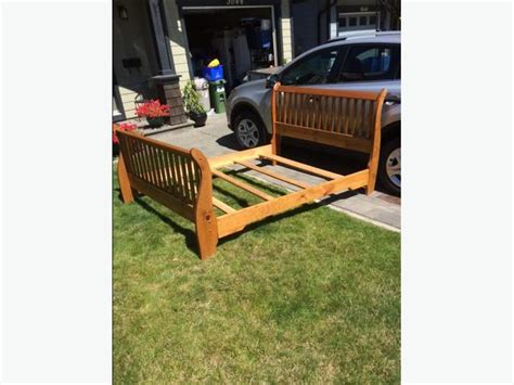 Queen Size Pine Sleigh Bed Frame West Shore Langford Pine Sleigh Bed Frame