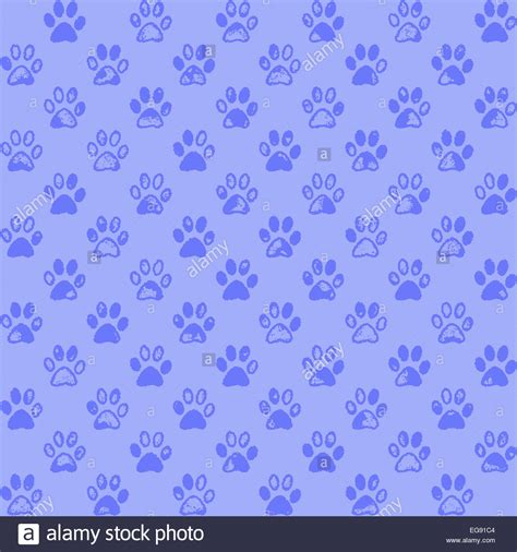 paw background paw prints in blue a seamless background pattern stock
