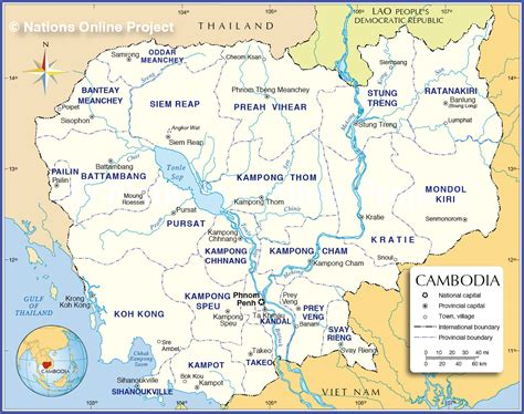 map of cambodia administrative map of cambodia nations project