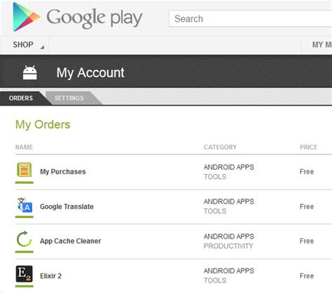my play order my purchases lists all your android app purchases ghacks