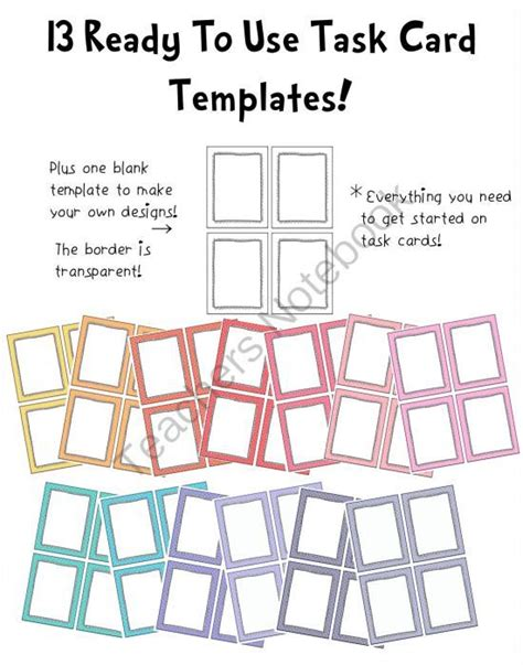 blank task cards template pin by robbins on my classroom