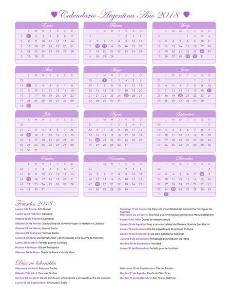 Calendario 2018 Uruguay Calendario Argentina A 241 O 2018 Feriados