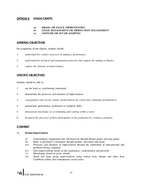 Fins2624 Course Outline 2012 by Csec Theatre Arts Syllabus 2012