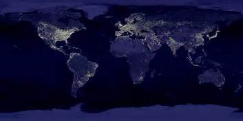 world lights earth satellite photograph from space and global map of