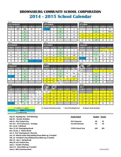 Brownsburg School Calendar 2014 2015 School Calendar Calendar Detail