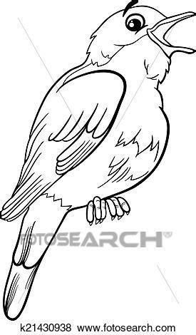 Nightingale bird coloring page Clip Art   k21430938