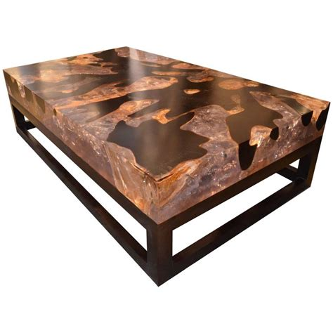 cracked resin coffee table with base for sale at 1stdibs