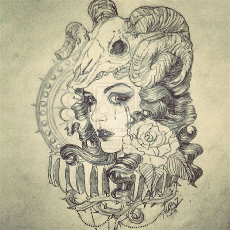 tattoo girl animal head ram skull headdress tattoo ideas pinterest head