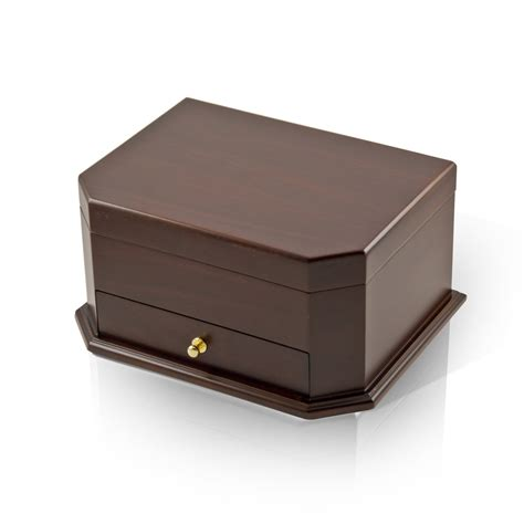 jewelry box modern wood tone cut corner ballerina musical jewelry box