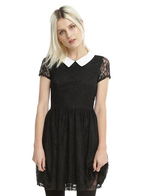 Black White List Dress black white collar lace dress topic
