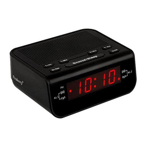 peakeep digital fm alarm clock radio with dual alarm snooze sleep timer and battery