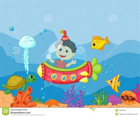 Draw Floor Plans Free cartoon a kids in the submarine royalty free stock image