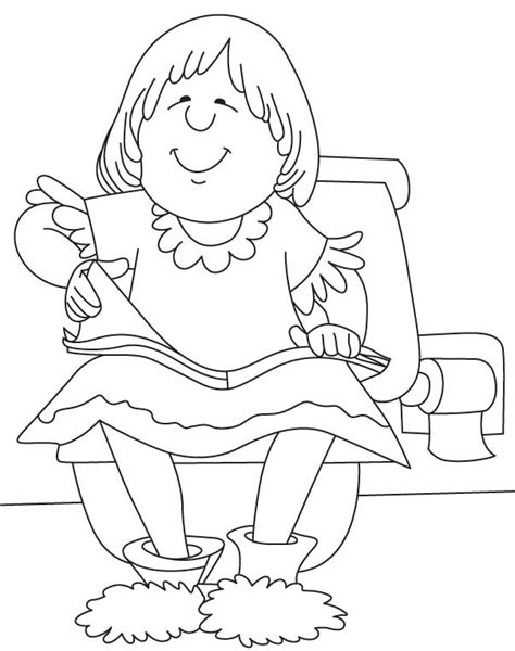 coloring page girl reading happy girl reading coloring page download free happy