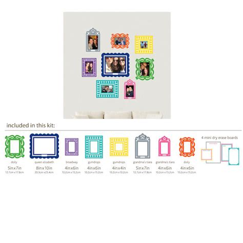wall stickers frames multi colored sticker frame peel and stick kit