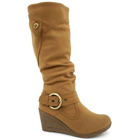 high wedge heel boots berlin wedge heel knee high biker boots leather
