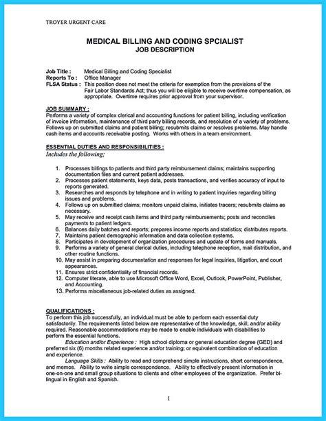 billing specialist resume billing t resume sample medical and coding