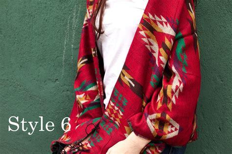 Pashmina Tribal Line wool blend tribal shawl