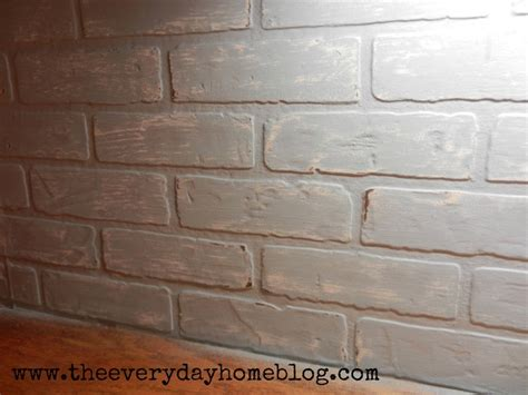 budget friendly painted brick backsplash at