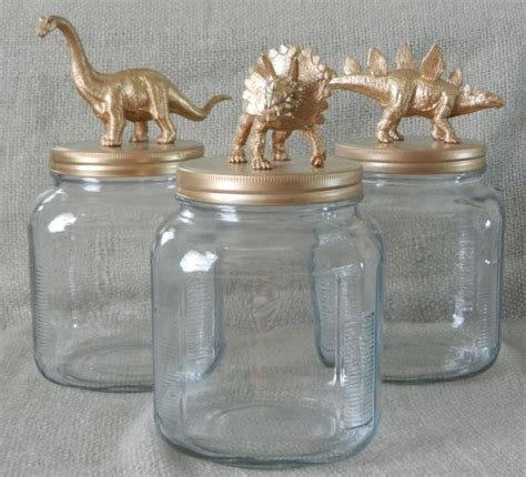 Room Decor Jars by Gold Dinosaur Canisters Animal Jars Gold Dinosaurs