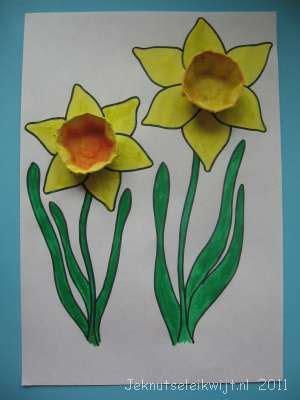 bloemen haken 1 kleur plat voorjaarsknutsel narcis