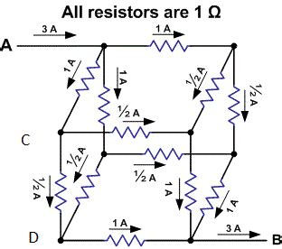 three 3 ohm resistors are connected to form a triangle if 12 1 ohm resistors are connected in the form of a cuboid what would be the diagonal