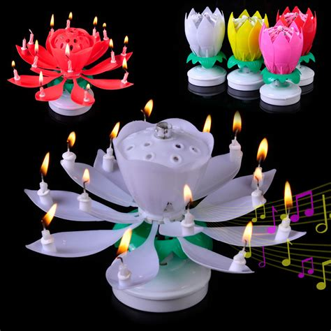 rotating musical lotus flower happy birthday candle lights rotating musical lotus flower happy birthday candle lights gift