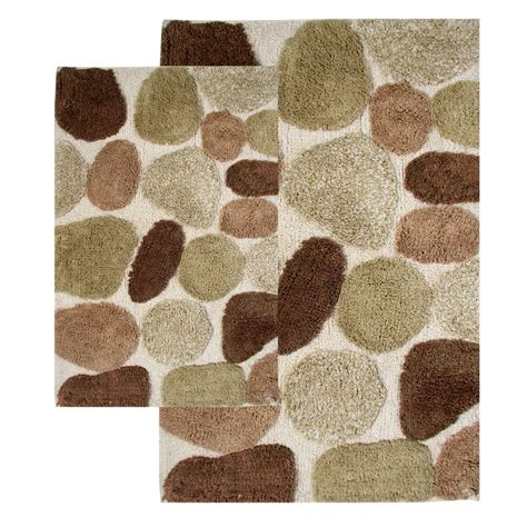 Chesapeake 26650 Pebbles Bath Rug Set Khaki Atg Stores Bathroom Rugs