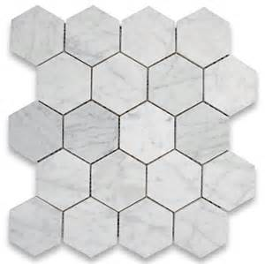 carrara white 3 inch hexagon mosaic tile polished marble