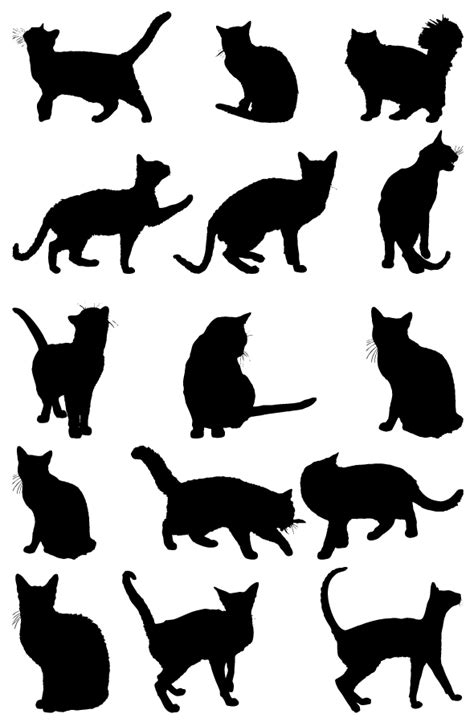 Free Cat Silhouettes Collection Vector   TitanUI