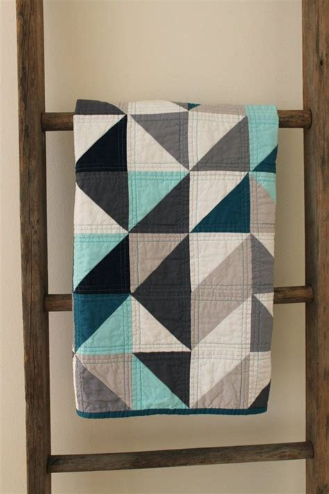geometric pattern quilt grey and blue geometric baby quilt quilt display the